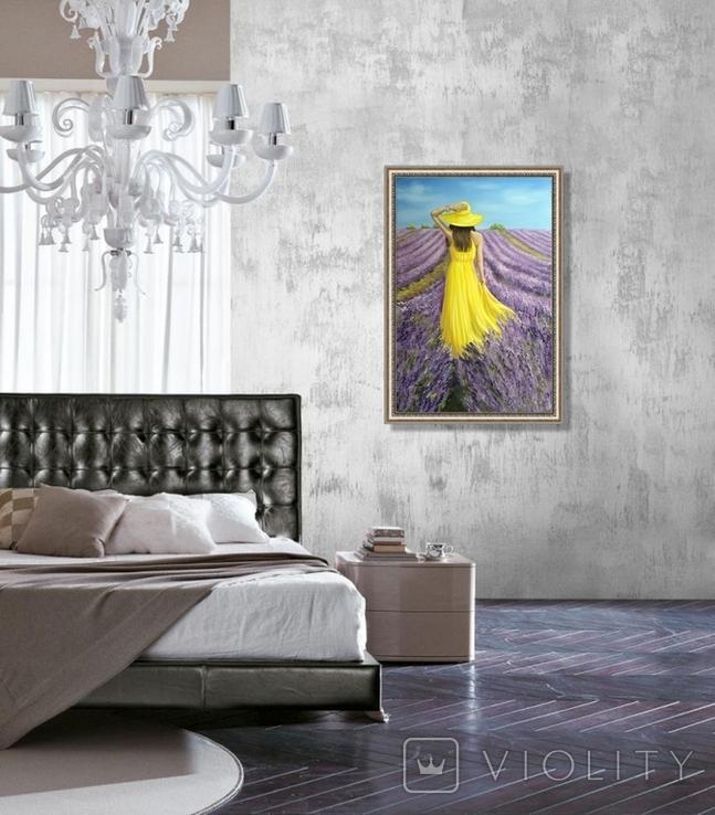 Картина, В жовтому на лавандовому, 60х40см. Живопис на полотні, фото №9