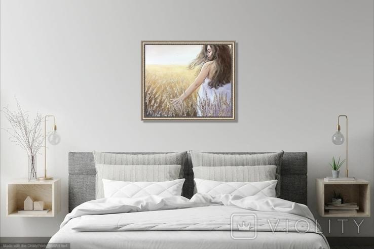 Картина, Стигле колосся, 60х50см. Живопис на полотні, фото №6