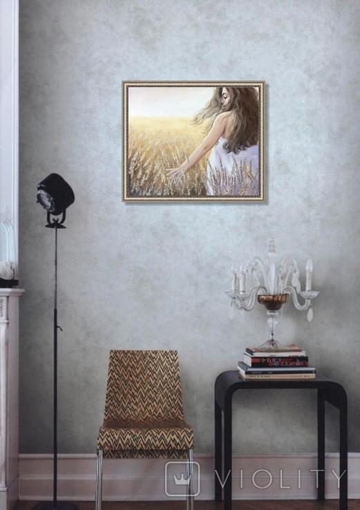 Картина, Стигле колосся, 60х50см. Живопис на полотні, фото №9