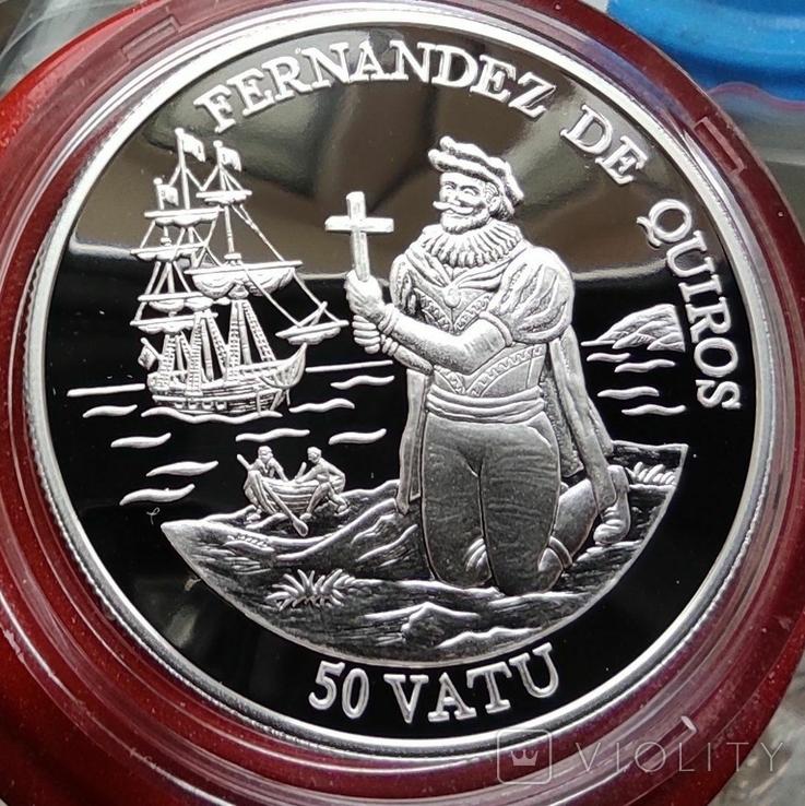 Вануату 50 Вату 1992 г Корабль. Серебро. Пруф, фото №2