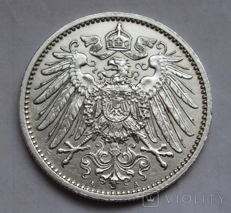 1 марка 1912 г. (А) Германия, серебро, фото №2