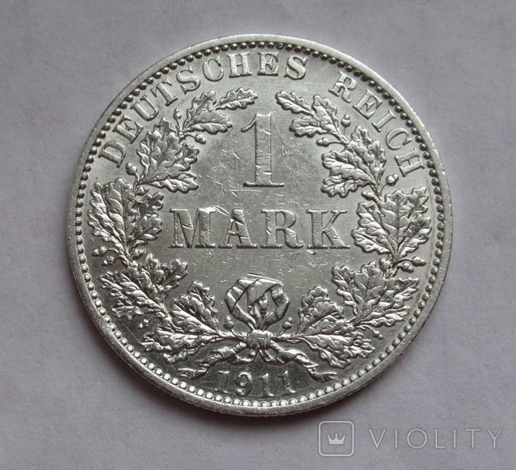 1 марка 1911 г. (А) Германия, серебро, фото №2