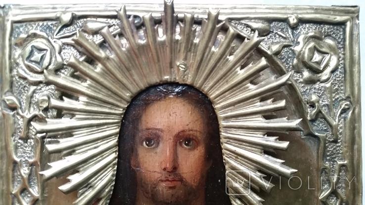 Ікона Ісус, латунь, 13,8х11,5 см, фото №4