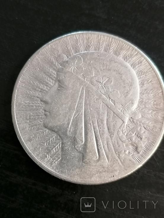 10 злотых 1932г.Стрела между когтями, фото №2