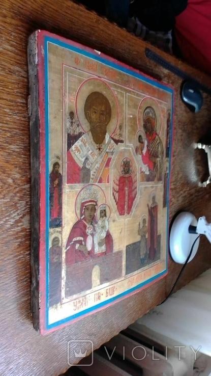 Икона старообрядческая 4 чястнік вис 45 см шир 38см, фото №5