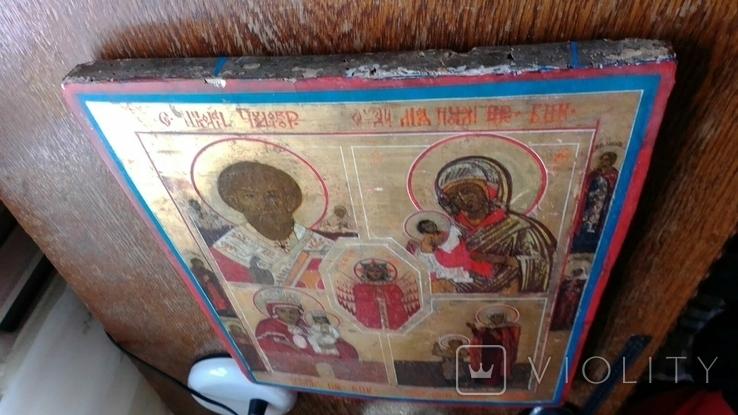 Икона старообрядческая 4 чястнік вис 45 см шир 38см, фото №6