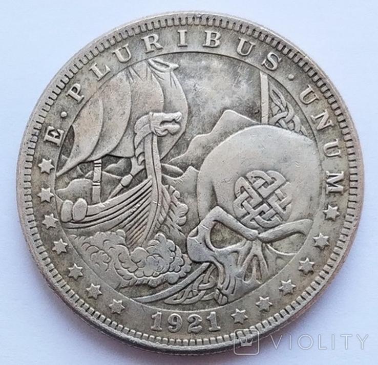 США. 1 доллар 1921. Драккар. Копия, фото №2