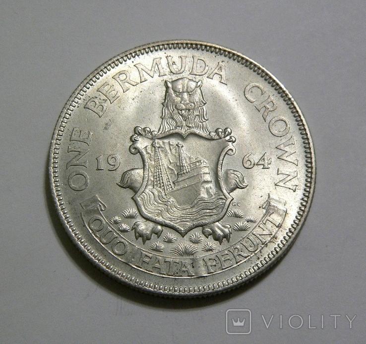 Бермудские Острова, 1 крона, 1964 - серебро, фото №2