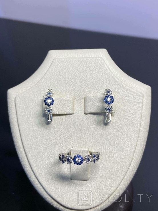 Серьги и кольцо с сапфирами и бриллиантами, фото №7
