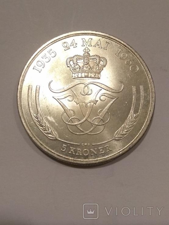 Дания 5 крон 1960 года серебро 17 грамм, 800 проба, фото №3