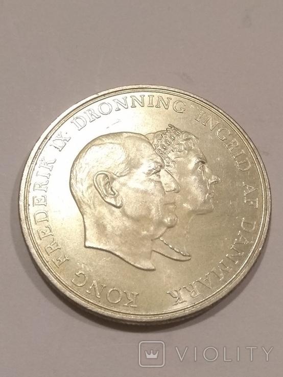 Дания 5 крон 1960 года серебро 17 грамм, 800 проба, фото №5