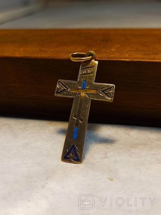 Золотой крест 56 проба, фото №3