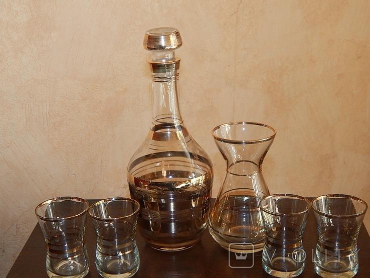 Графин вазочка четыре рюмки комплект, фото №3