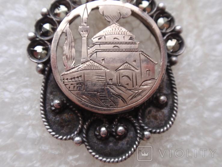 Мусульманская подвеска периода Царской России. Серебро, золото, черные бриллианты., фото №6