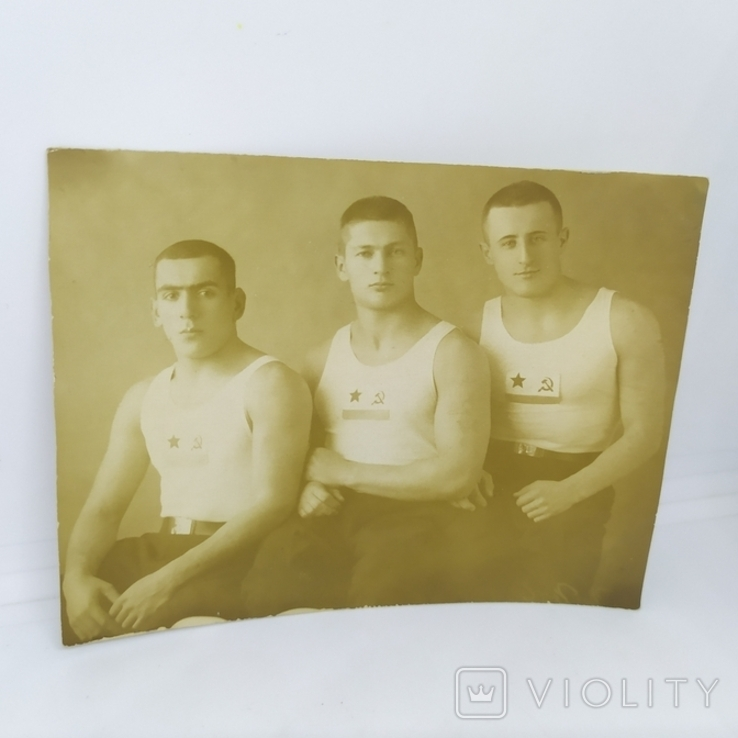 1940 Фото Моряки - борцы. Баку, Каспийская военная флотилия. Борьба, фото №2