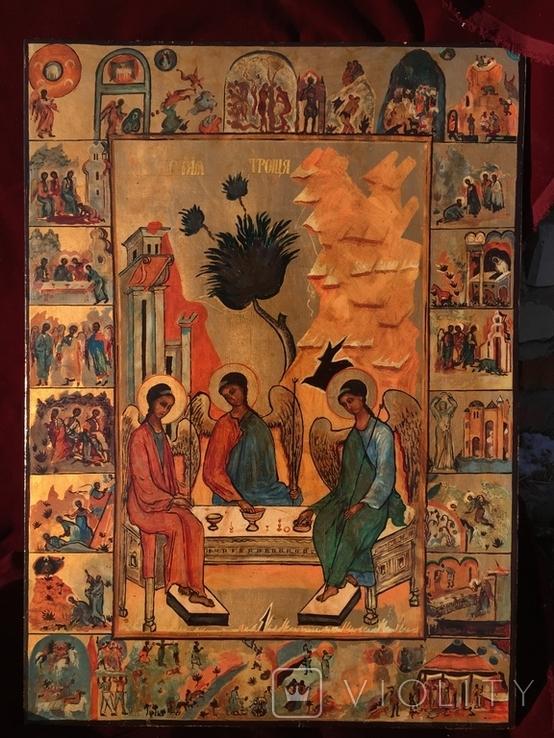 Икона Святая троица с клеймами, фото №2