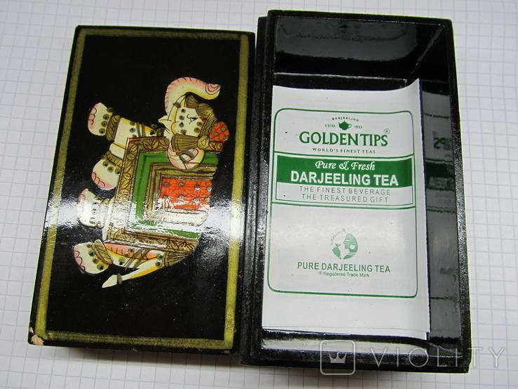 Винтажный запечатаный чай в деревяной коробке. Индия., фото №4