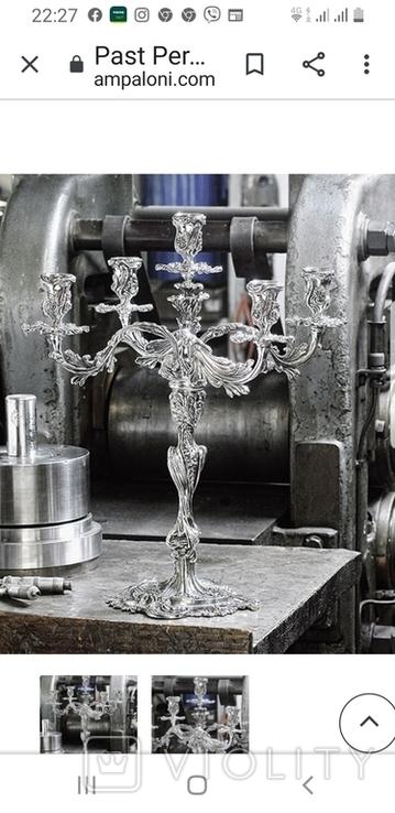 Канделябр,подсвечник серебро 925 проба.PAMPALONI., фото №8