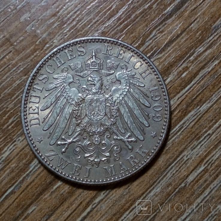 Саксония 2 марки 1909 г., фото №3