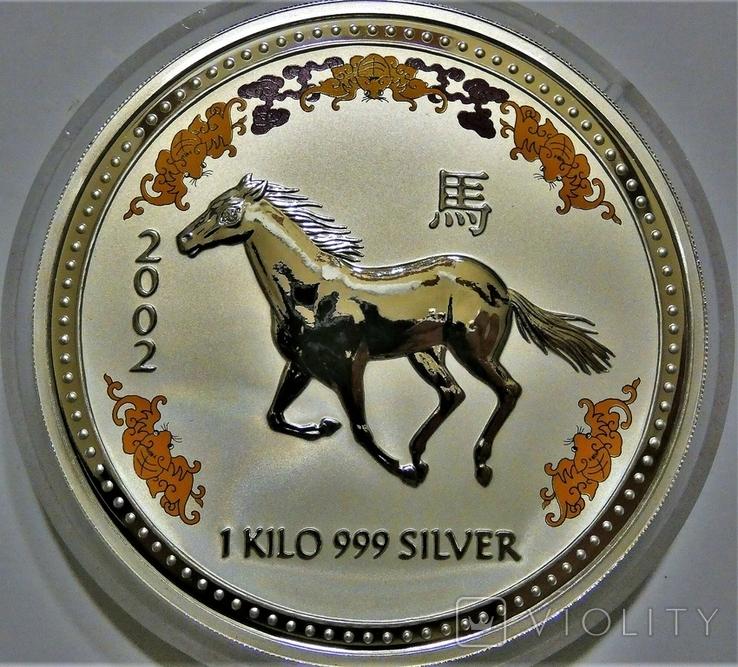 "2002 Австралия, серебро, 1 килограмм ""Год Лошади"" с бриллиантом, фото №4"