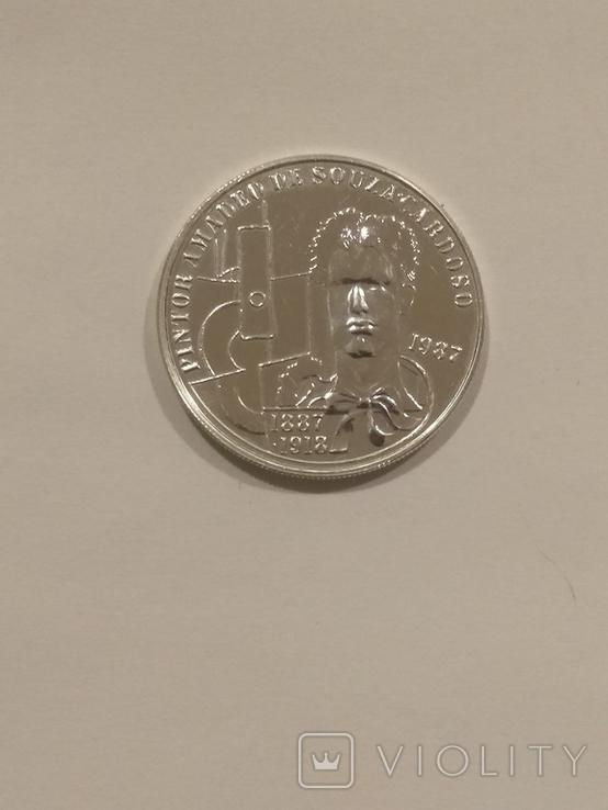 Португалия 100 эскудо  1987 года серебро 21 грамм, 925 проба, фото №2
