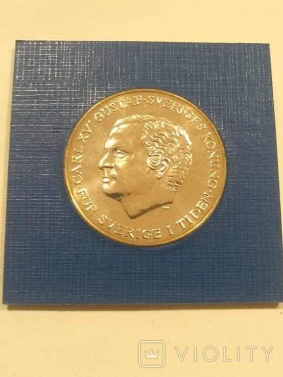 Швеция 200 крон 1980 года серебро 27 грамм 925 проба, фото №5