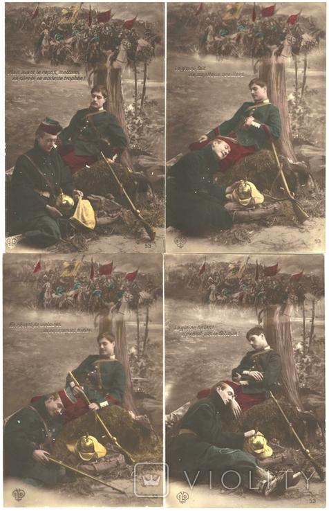 Открытка 4 шт  Первая мировая война Франция, фото №2