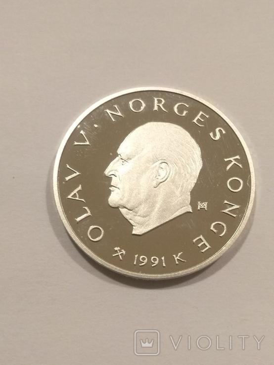 Норвегия 50 крон 1991 года серебро 16,81 грамм 925 проба, фото №3