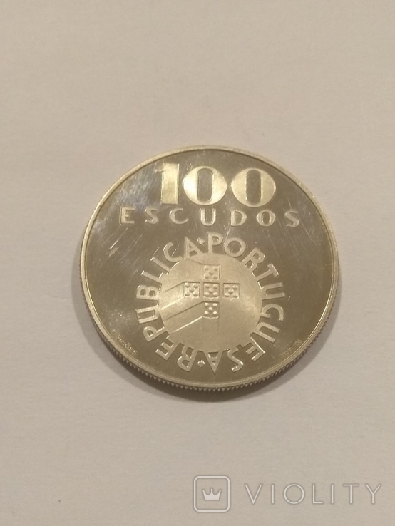 Португалия 100 эскудо  1976 года серебро 18 грамм, 650 проба, фото №4