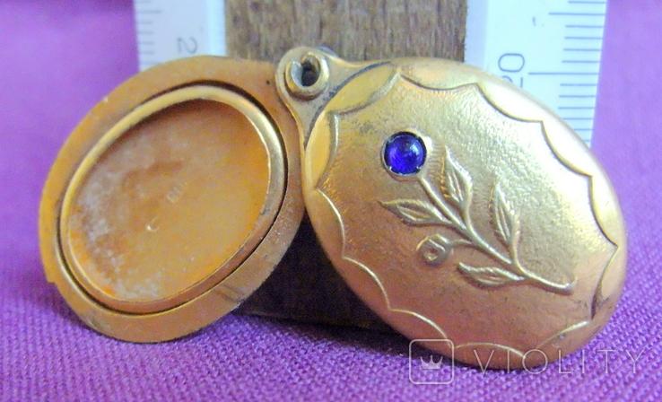 Кулон - подвеска Цветок под фотографию позолоченный., фото №2