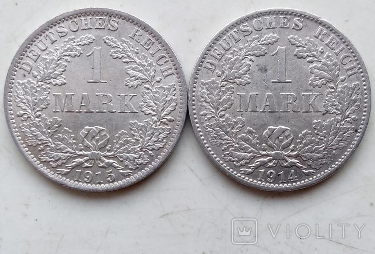 Две монеты Германии , 1 Марка 1914 года (А), 1 Марка 1915 года (А), фото №4