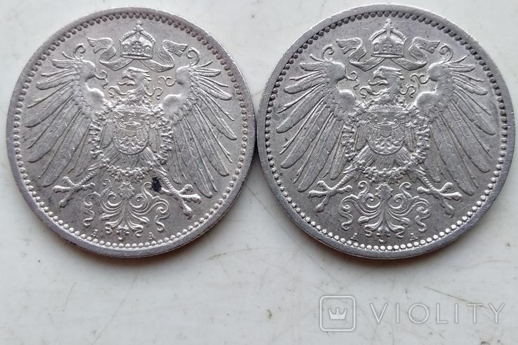 Две монеты Германии , 1 Марка 1914 года (А), 1 Марка 1915 года (А), фото №6