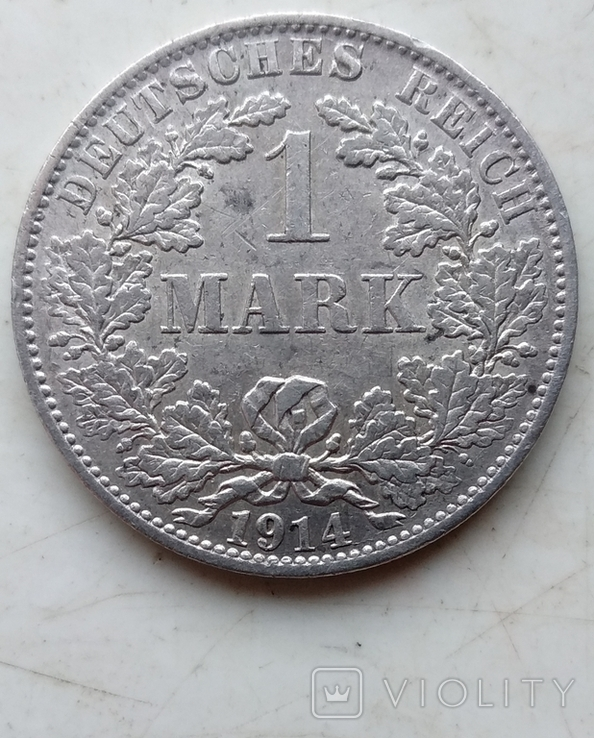 Две монеты Германии , 1 Марка 1914 года (А), 1 Марка 1915 года (А), фото №12