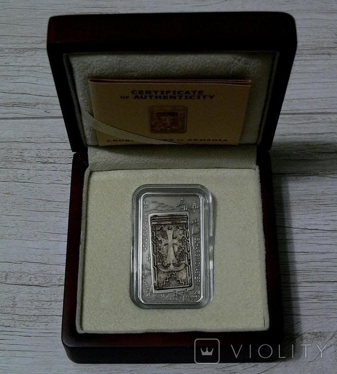 ХАЧКАР (Крест-камень) МОНАСТЫРЯ КЕЧАРИС - серебро, вставка из мрамора - ПОЛНЫЙ КОМПЛЕКТ, фото №2