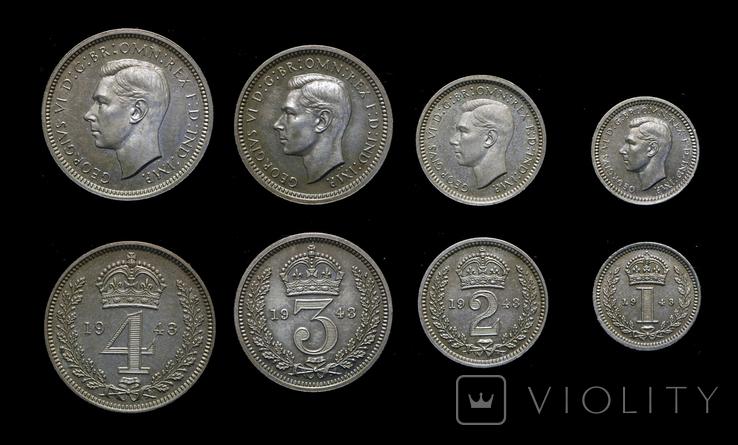 Великобритания маунди набор 1943 серебро тираж 1329 штук