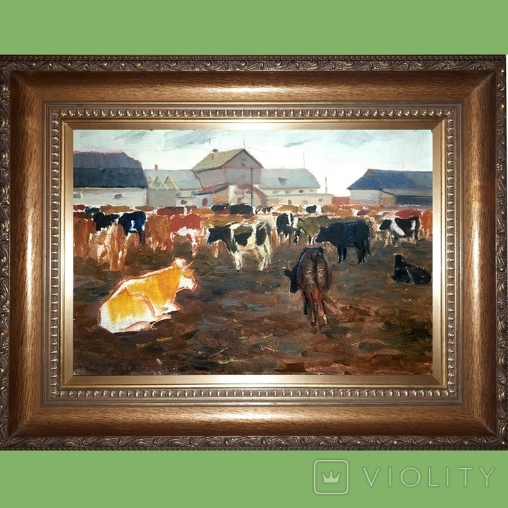 Картина с коровами. 1961. Художник Е.Н.Ткаченко (1923-2002)., фото №4