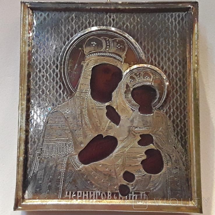 Икона М Б Черниговская в серебряном окладе 84* в киоте, фото №2