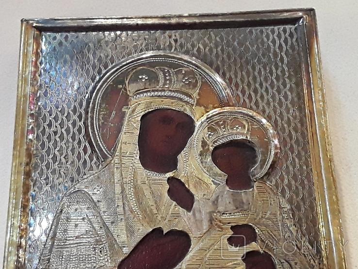 Икона М Б Черниговская в серебряном окладе 84* в киоте, фото №8