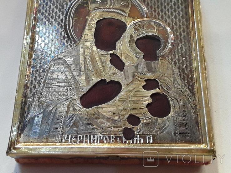 Икона М Б Черниговская в серебряном окладе 84* в киоте, фото №9