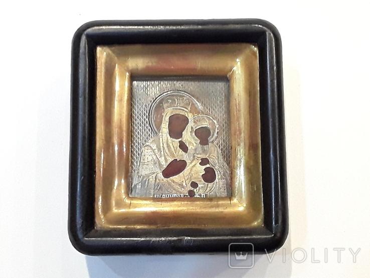Икона М Б Черниговская в серебряном окладе 84* в киоте, фото №10