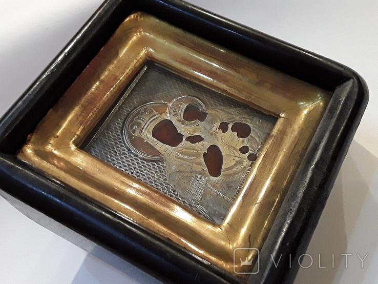 Икона М Б Черниговская в серебряном окладе 84* в киоте, фото №12