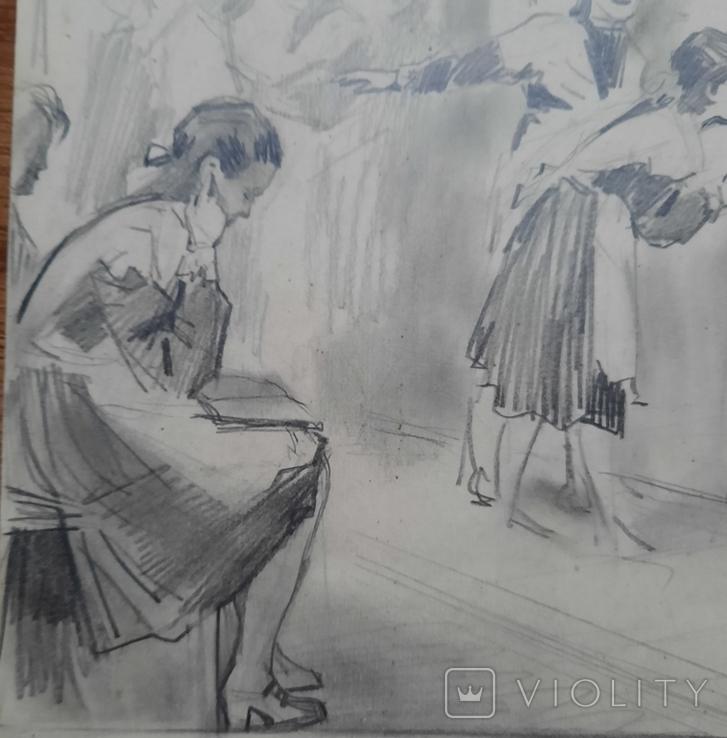 И. Тихий На экзаменах. Рисунок, Конец 1950-х гг., фото №4