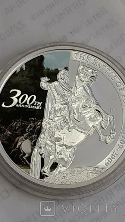 1 Доллар 2009г. 300 Лет Полтавской битве. Тувалу. Серебро., фото №2