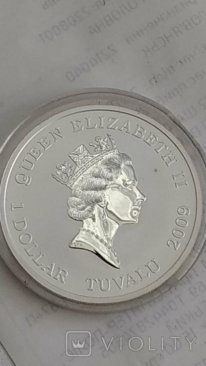 1 Доллар 2009г. 300 Лет Полтавской битве. Тувалу. Серебро., фото №8