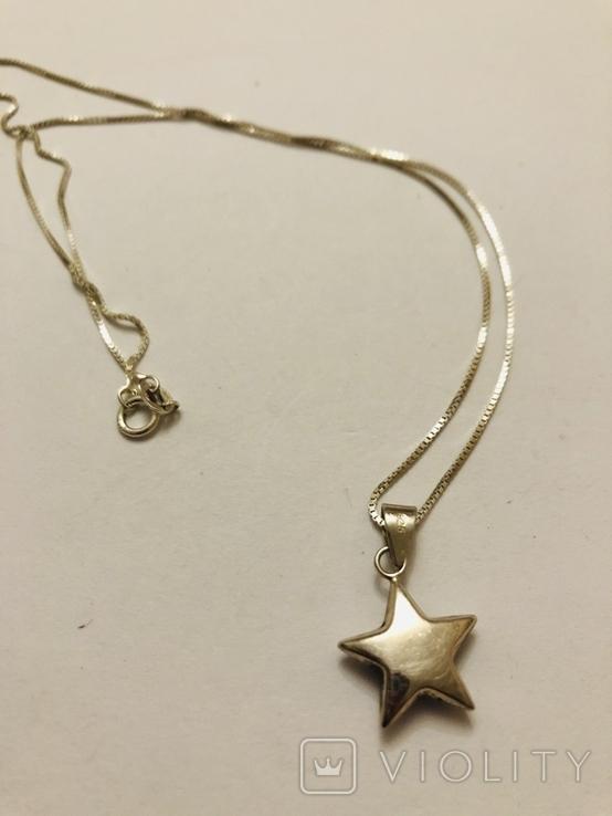 Кулон подвеска Звезда на цепочке серебро 925 Италия, фото №2