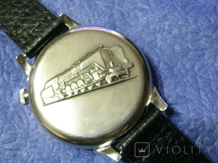 Часы Молния 3602 Паровоз,железнодорожные.Рабочие на ремешке, фото №8