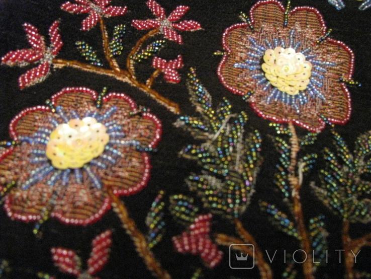 Сумка - гобелен с ручной вышивкой бисером и блёстками., фото №5