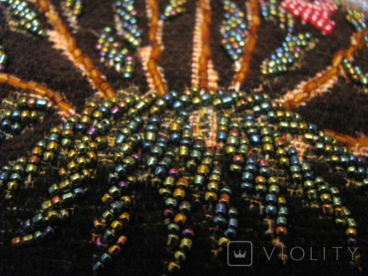 Сумка - гобелен с ручной вышивкой бисером и блёстками., фото №7