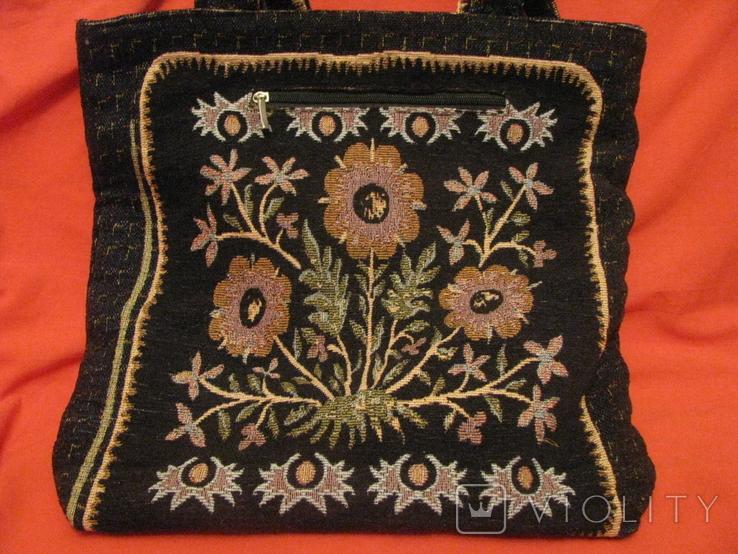 Сумка - гобелен с ручной вышивкой бисером и блёстками., фото №8