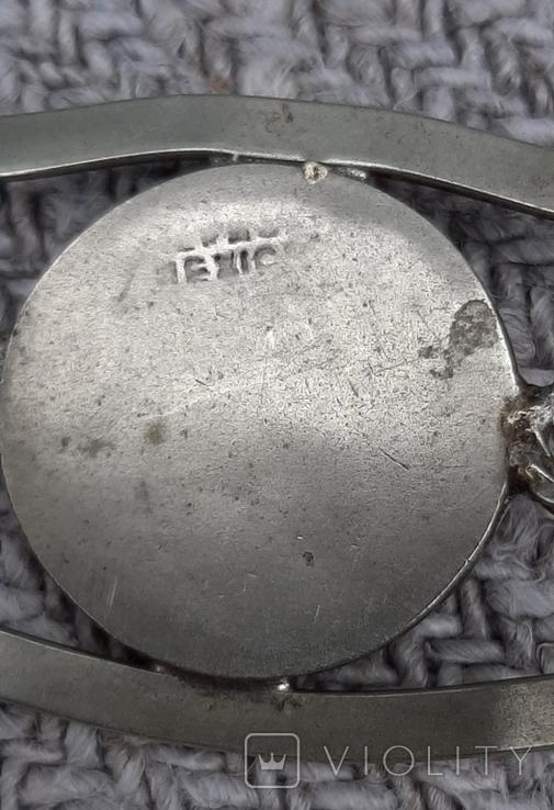Браслет латунный,вставка перламутр,клеймо, фото №7